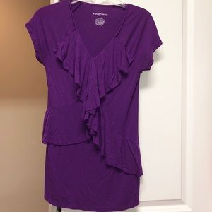 Purple Maternity Ruffled Top